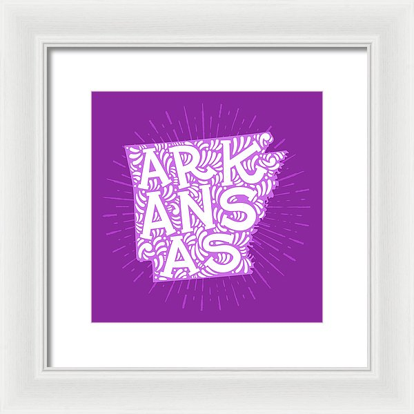 Colorful Arkansas State Shape Doodle - Framed Print from Wallasso - The Wall Art Superstore