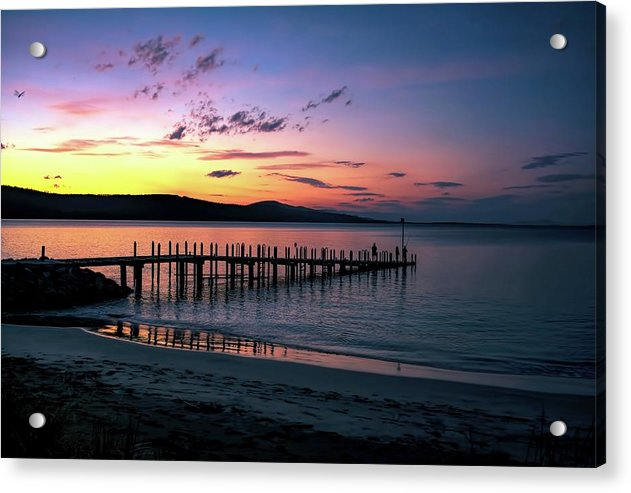 Colorful Beach Dock At Sunrise - Acrylic Print from Wallasso - The Wall Art Superstore