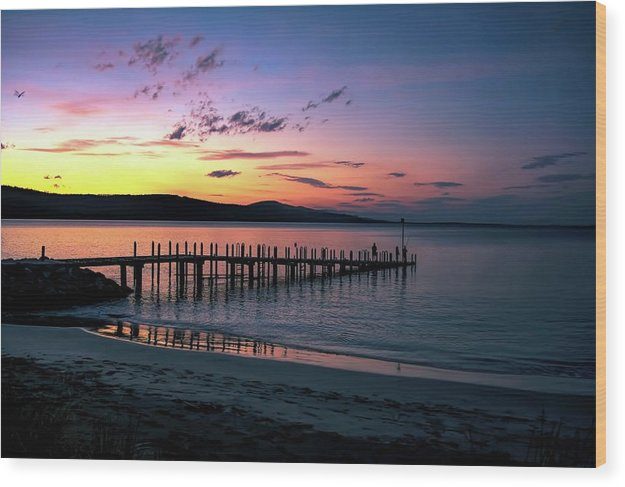 Colorful Beach Dock At Sunrise - Wood Print from Wallasso - The Wall Art Superstore