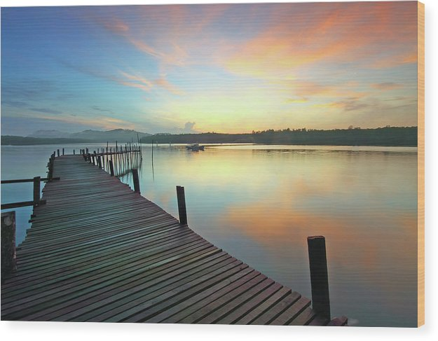 Colorful Boardwalk At Sunset - Wood Print from Wallasso - The Wall Art Superstore