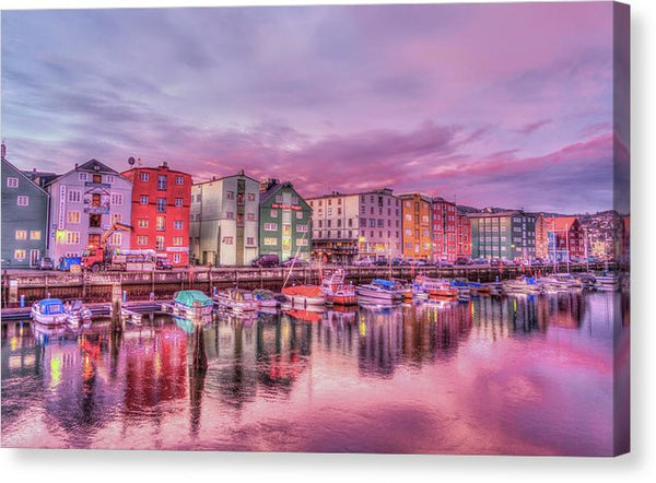 Colorful Boat Houses In Trondheim Norway - Canvas Print from Wallasso - The Wall Art Superstore