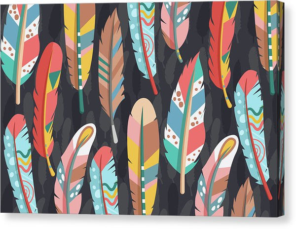 Colorful Boho Feather Pattern - Canvas Print from Wallasso - The Wall Art Superstore