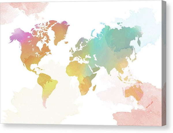 Colorful Boho World Map - Canvas Print from Wallasso - The Wall Art Superstore