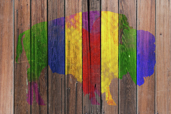 Colorful Buffalo Painted On Wood Fence, 1 of 2 Set - Art Print from Wallasso - The Wall Art Superstore