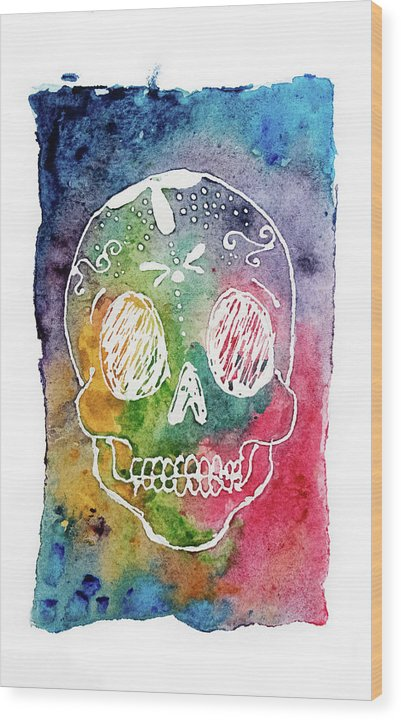 Colorful Calavera by Jessica Contreras - Wood Print from Wallasso - The Wall Art Superstore