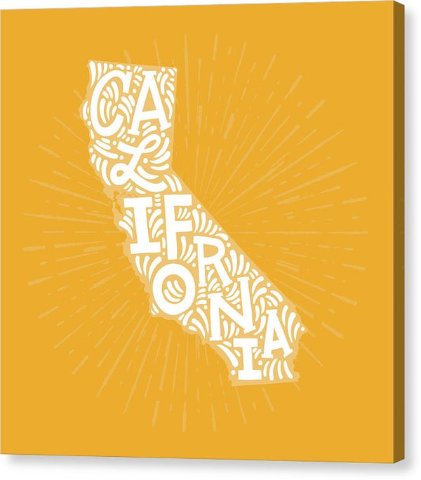 Colorful California State Shape Doodle - Canvas Print from Wallasso - The Wall Art Superstore