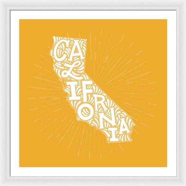 Colorful California State Shape Doodle - Framed Print from Wallasso - The Wall Art Superstore