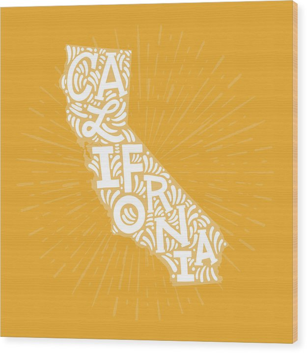 Colorful California State Shape Doodle - Wood Print from Wallasso - The Wall Art Superstore