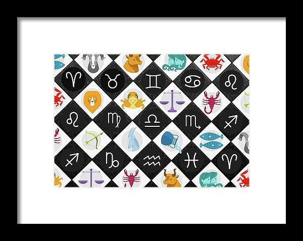 Colorful Checkered Zodiac Signs - Framed Print from Wallasso - The Wall Art Superstore