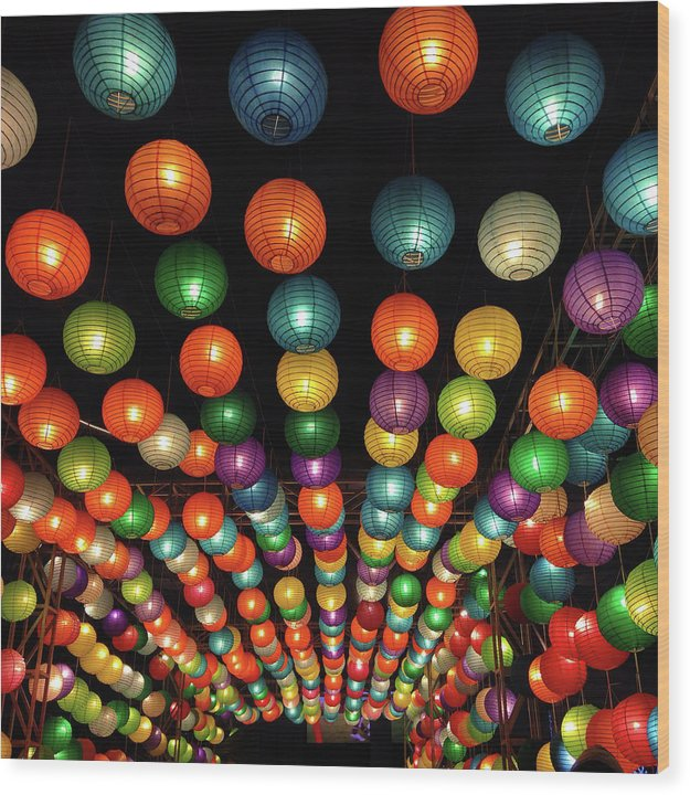 Colorful Chinese Lanterns - Wood Print from Wallasso - The Wall Art Superstore