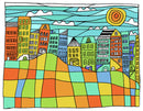 Colorful City Skyline Doodle - Art Print from Wallasso - The Wall Art Superstore