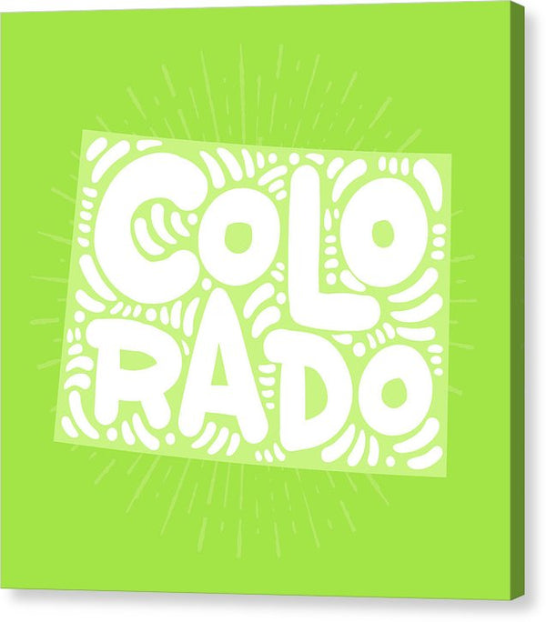 Colorful Colorado State Shape Doodle - Canvas Print from Wallasso - The Wall Art Superstore