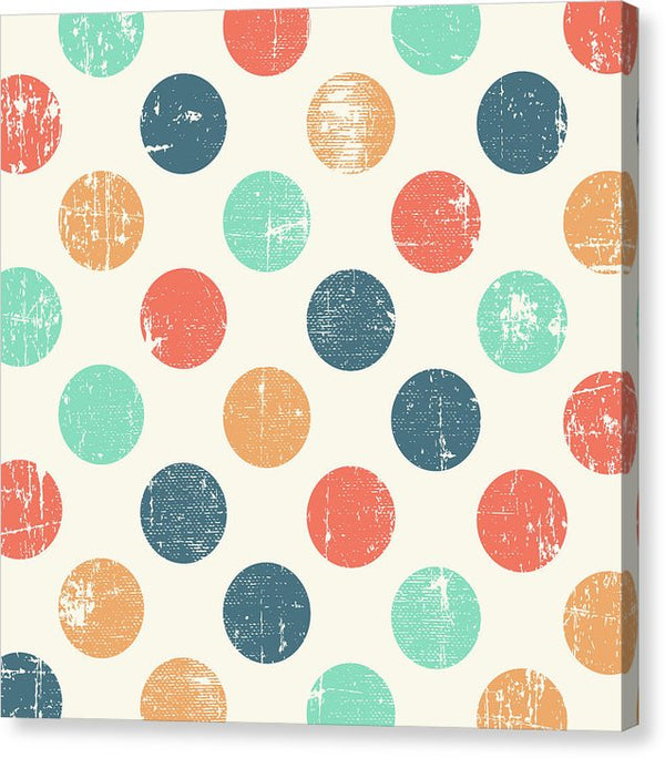 Colorful Distressed Polka Dot Pattern - Canvas Print from Wallasso - The Wall Art Superstore
