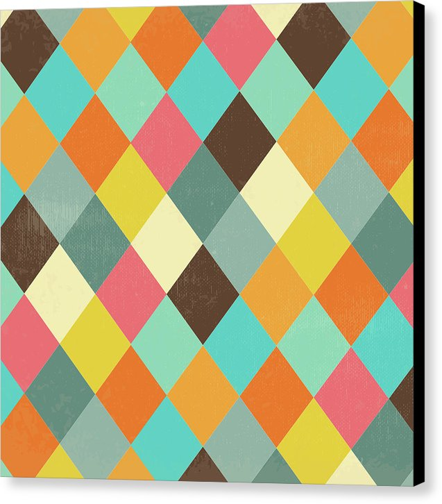 Colorful Distressed Harlequin Diamond Pattern - Canvas Print from Wallasso - The Wall Art Superstore