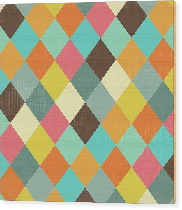 Colorful Distressed Harlequin Diamond Pattern - Wood Print from Wallasso - The Wall Art Superstore