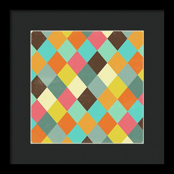 Colorful Distressed Harlequin Diamond Pattern - Framed Print from Wallasso - The Wall Art Superstore