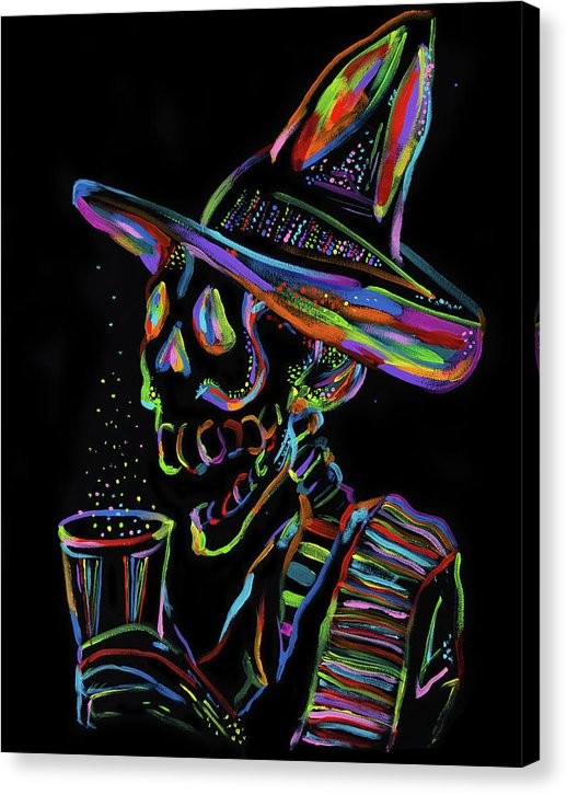 Colorful Drinking Skeleton by Jessica Contreras - Canvas Print from Wallasso - The Wall Art Superstore