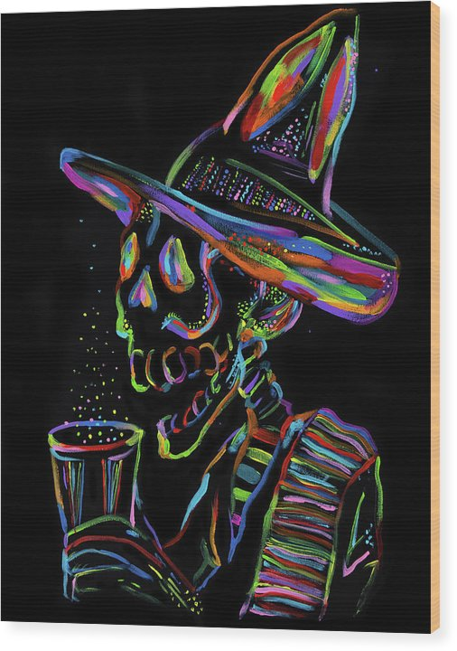 Colorful Drinking Skeleton by Jessica Contreras - Wood Print from Wallasso - The Wall Art Superstore