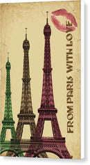 Colorful Eiffel Tower Decoupage Design - Canvas Print from Wallasso - The Wall Art Superstore