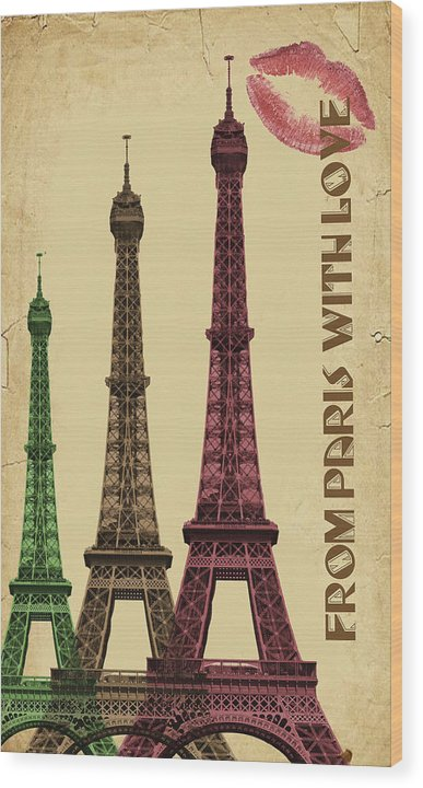 Colorful Eiffel Tower Decoupage Design - Wood Print from Wallasso - The Wall Art Superstore