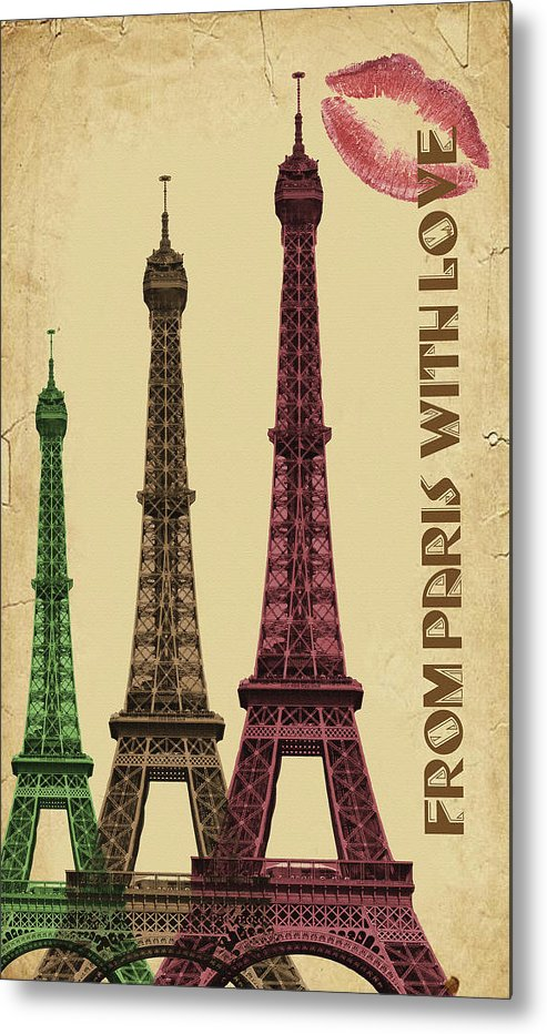 Colorful Eiffel Tower Decoupage Design - Metal Print from Wallasso - The Wall Art Superstore