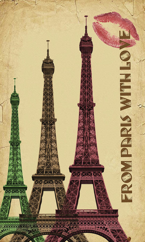 Colorful Eiffel Tower Decoupage Design - Art Print from Wallasso - The Wall Art Superstore