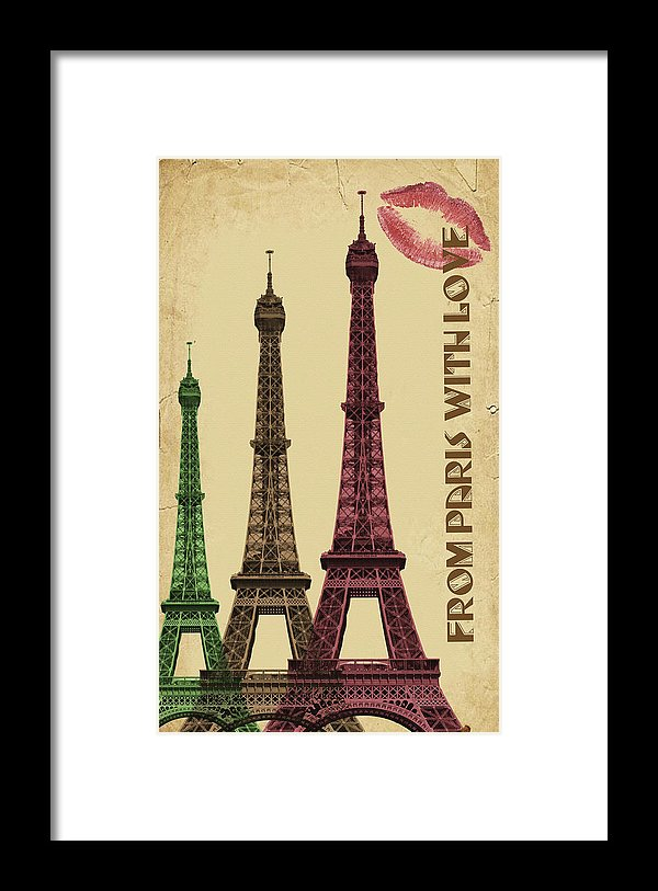 Colorful Eiffel Tower Decoupage Design - Framed Print from Wallasso - The Wall Art Superstore