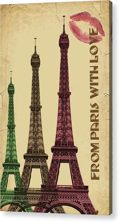 Colorful Eiffel Tower Decoupage Design - Acrylic Print from Wallasso - The Wall Art Superstore