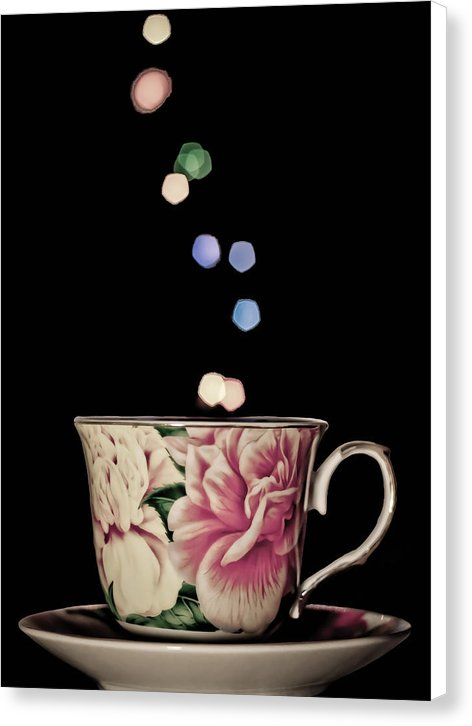 Colorful Floral Teacup - Canvas Print from Wallasso - The Wall Art Superstore