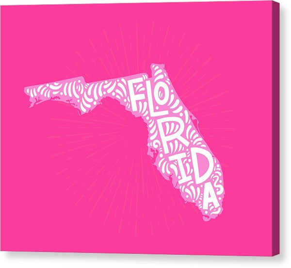 Colorful Florida State Shape Doodle - Canvas Print from Wallasso - The Wall Art Superstore