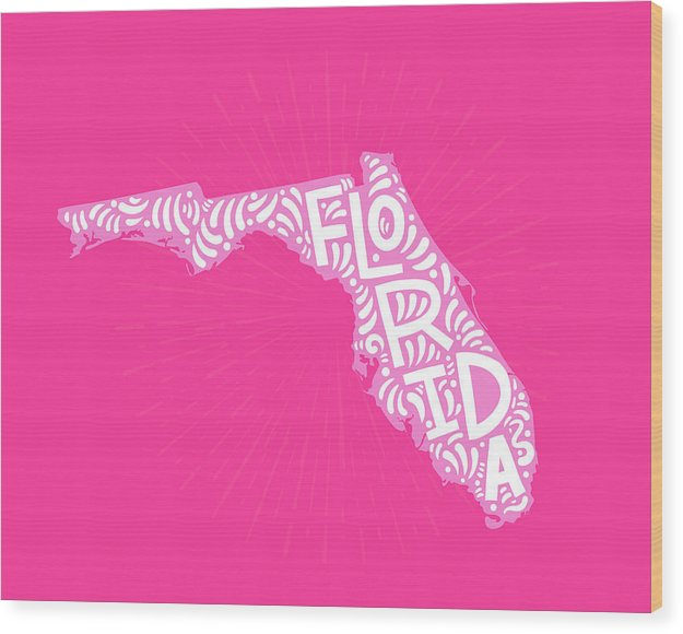 Colorful Florida State Shape Doodle - Wood Print from Wallasso - The Wall Art Superstore