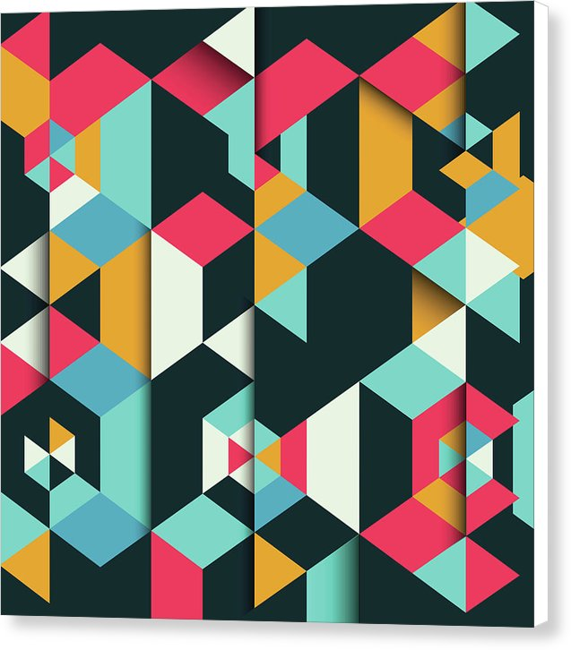 Colorful Geometric Triangle Pattern - Canvas Print from Wallasso - The Wall Art Superstore