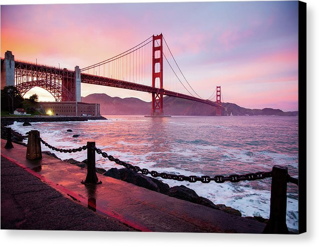 Colorful Golden Gate Bridge At Sunset, San Francisco, California - Canvas Print from Wallasso - The Wall Art Superstore