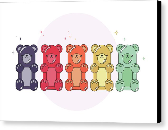 Colorful Gummy Bears For Kids - Canvas Print from Wallasso - The Wall Art Superstore