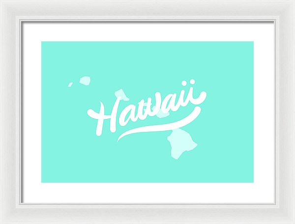 Colorful Hawaii State Shape Doodle - Framed Print from Wallasso - The Wall Art Superstore