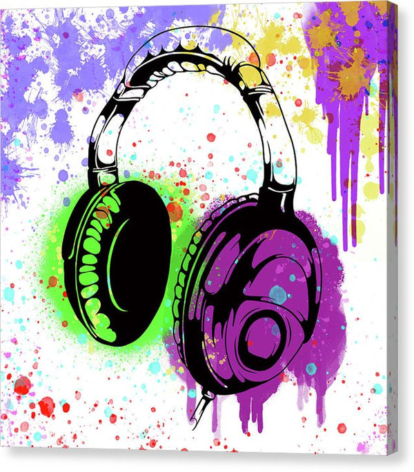 Colorful Headphones Street Art Graffiti Design, 2 of 3 Set - Canvas Print from Wallasso - The Wall Art Superstore