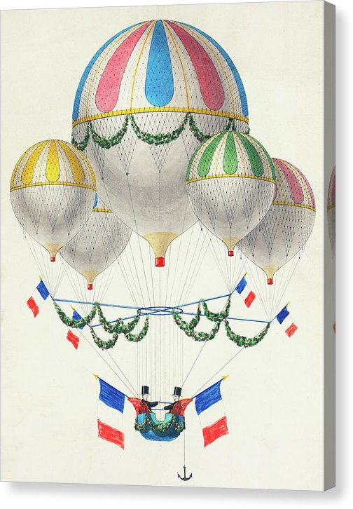 Colorful Hot Air Balloons With French Flags - Canvas Print from Wallasso - The Wall Art Superstore