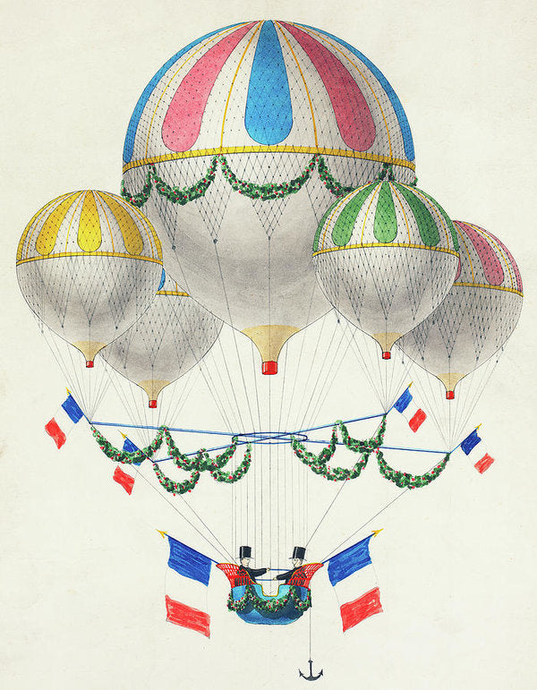 Colorful Hot Air Balloons With French Flags - Art Print from Wallasso - The Wall Art Superstore