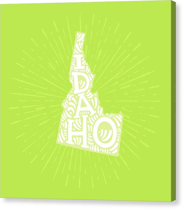 Colorful Idaho State Shape Doodle - Canvas Print from Wallasso - The Wall Art Superstore