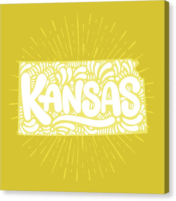 Colorful Kansas State Shape Doodle - Canvas Print from Wallasso - The Wall Art Superstore