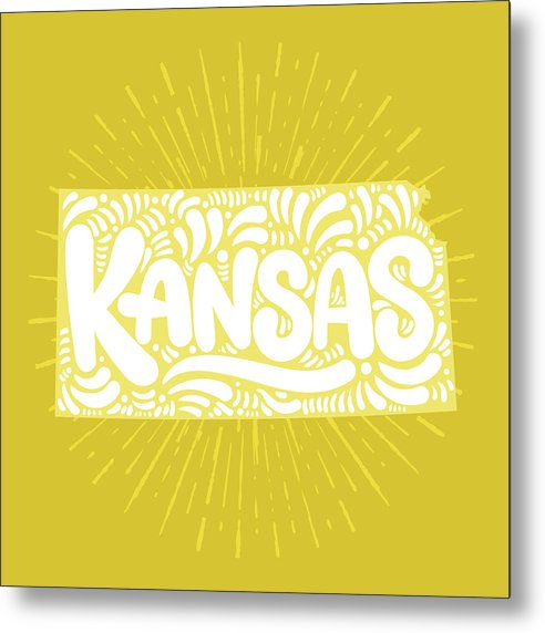 Colorful Kansas State Shape Doodle - Metal Print from Wallasso - The Wall Art Superstore