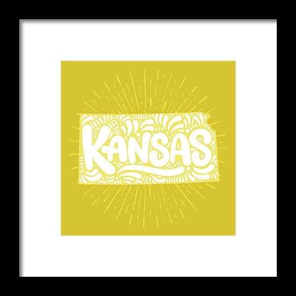 Colorful Kansas State Shape Doodle - Framed Print from Wallasso - The Wall Art Superstore