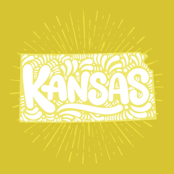 Colorful Kansas State Shape Doodle - Art Print from Wallasso - The Wall Art Superstore