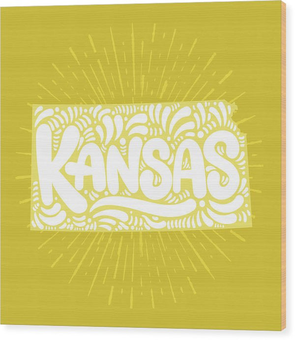 Colorful Kansas State Shape Doodle - Wood Print from Wallasso - The Wall Art Superstore