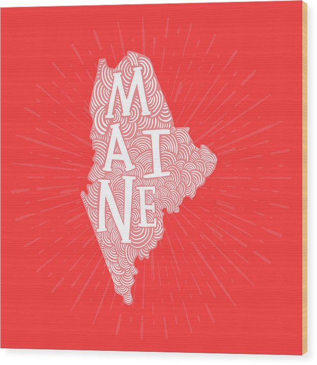 Colorful Maine State Shape Doodle - Wood Print from Wallasso - The Wall Art Superstore
