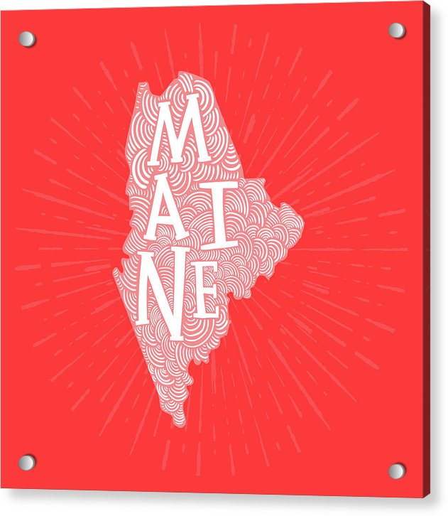 Colorful Maine State Shape Doodle - Acrylic Print from Wallasso - The Wall Art Superstore