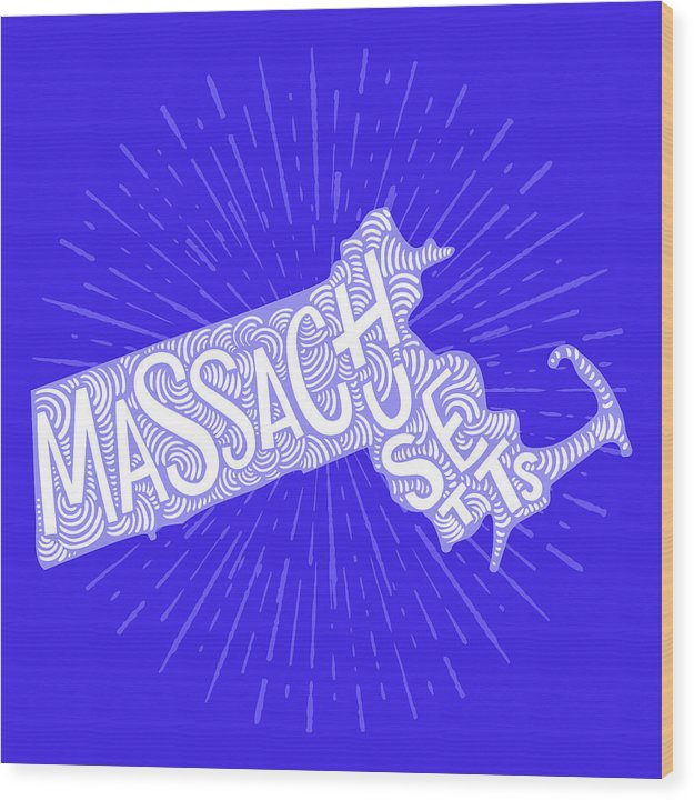 Colorful Massachusetts State Shape Doodle - Wood Print from Wallasso - The Wall Art Superstore