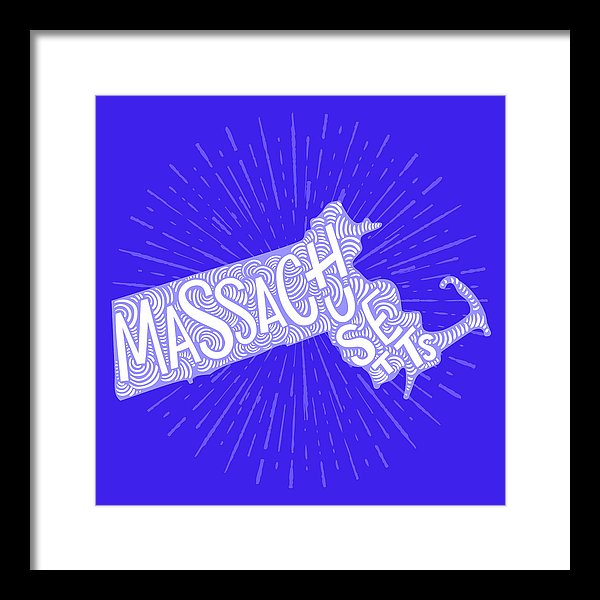 Colorful Massachusetts State Shape Doodle - Framed Print from Wallasso - The Wall Art Superstore