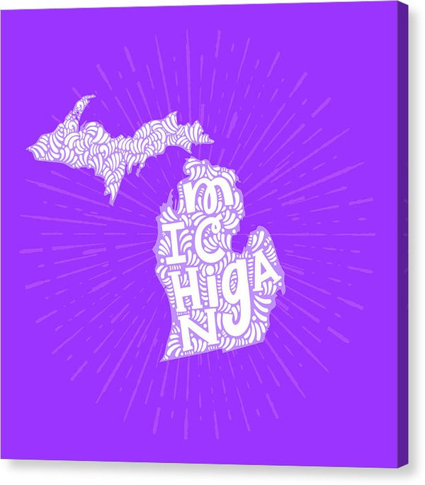 Colorful Michigan State Shape Doodle - Canvas Print from Wallasso - The Wall Art Superstore