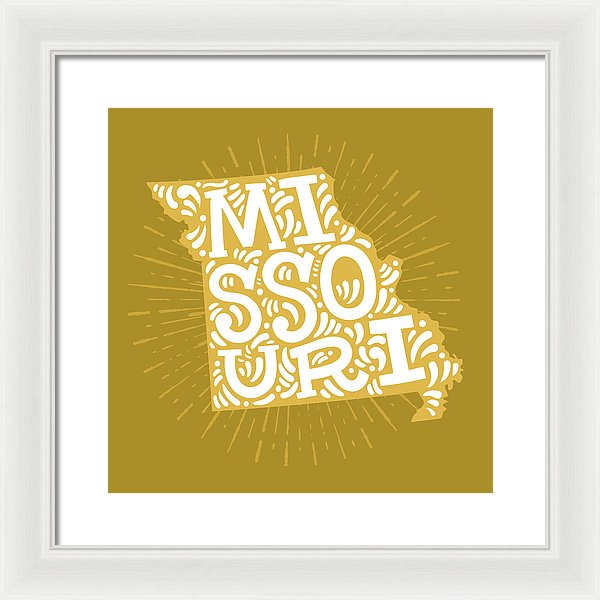 Colorful Missouri State Shape Doodle - Framed Print from Wallasso - The Wall Art Superstore